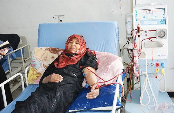 Saoud Al Azani receives haemodialysis treatment