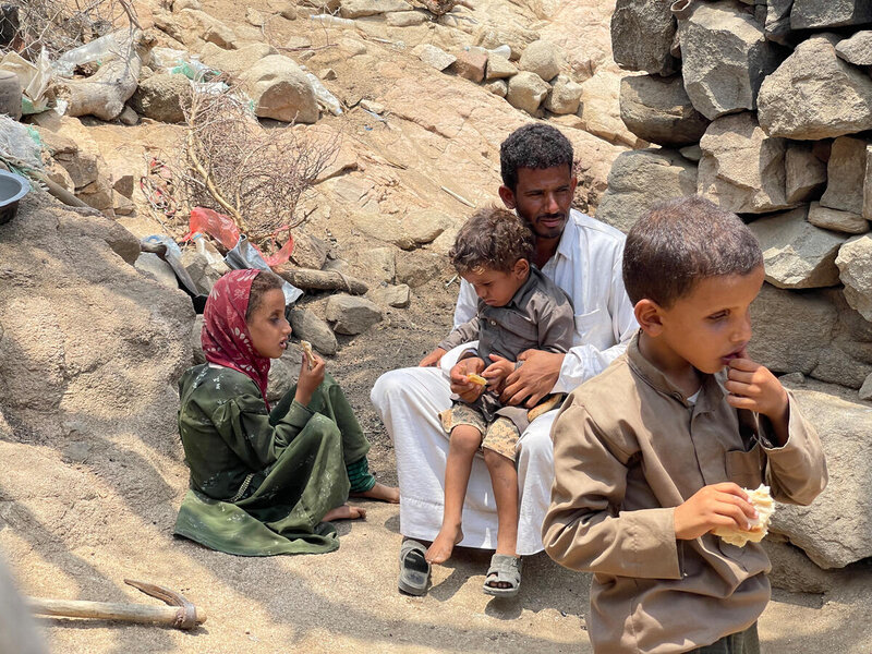 Famine-like conditions in Yemen force families to eat tree leaves