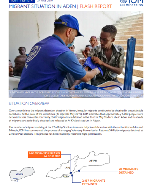 Migrant Situation in Aden Flash Report May 2019